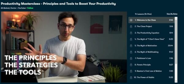 Ali Abdaal – Productivity Masterclass – Principles and Tools to Boost Your Productivity