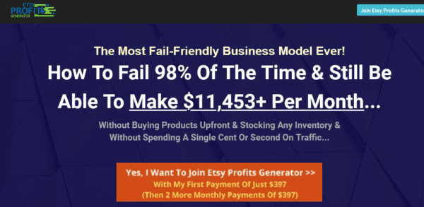Dave Kettner – ETSY Profits Generator – How To Make $11,453+ Per Month On ETSY [Full Completed]