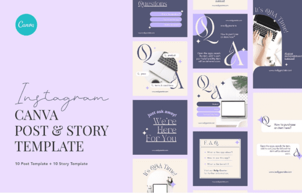 Minimalist Elegant FAQ Canva – Instagram Post and Stories Template